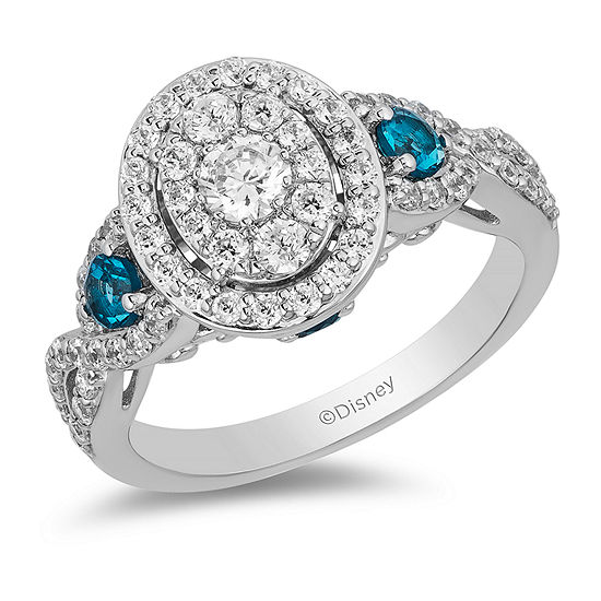 Enchanted Disney Fine Jewelry Womens 1 CT. T.W. Genuine White Diamond 14K White Gold Cinderella Engagement Ring