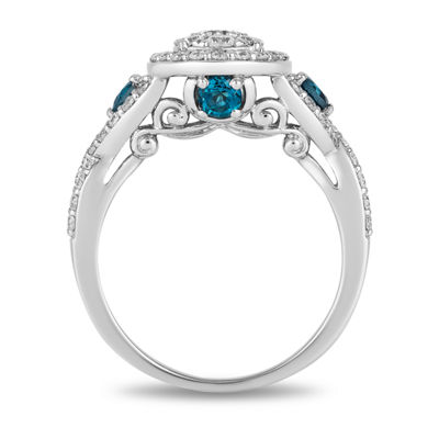 Enchanted Disney Fine Jewelry Womens 1 CT. T.W. Genuine White Diamond 14K White Gold Cinderella Engagement Ring