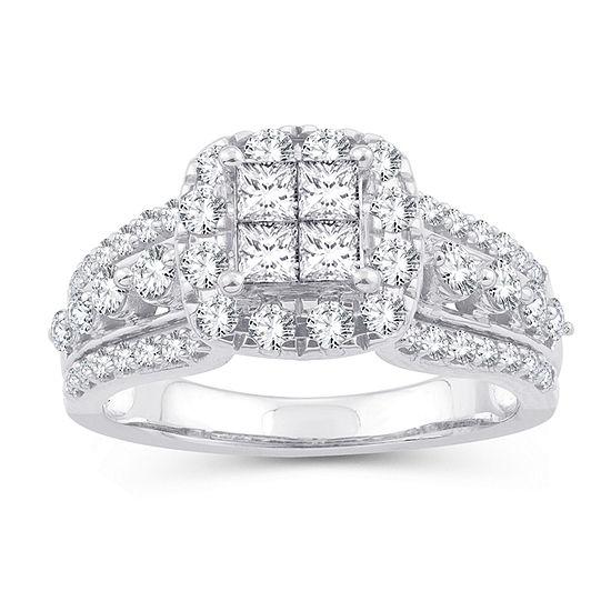 Womens 1 1/3 CT. T.W. Genuine White Diamond 10K White Gold Engagement Ring