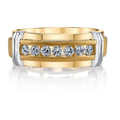 Mens 7.5MM 1/4 CT. T.W. Genuine White Diamond 10K Two Tone Gold Wedding Band