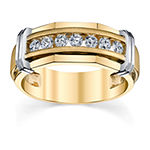 7.5MM 1/4 CT. T.W. Genuine White Diamond 10K Two Tone Gold Wedding Band