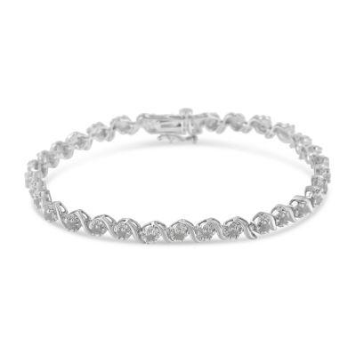 1 CT. T.W. White Diamond Sterling Silver Tennis Bracelet