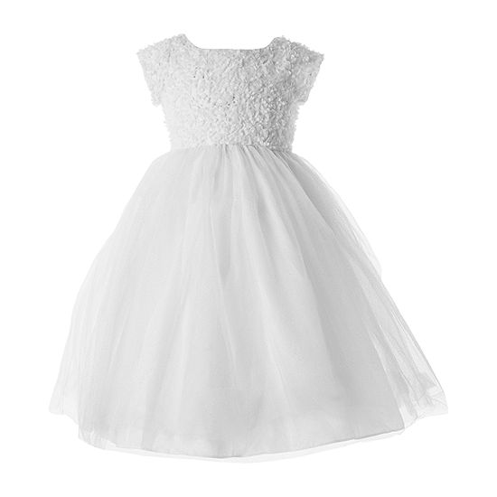 Keepsake First Communion Girls Short Sleeve Fitted Sleeve Fit & Flare Dress - Big Kid
