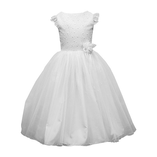 Keepsake First Communion Girls Embellished Sleeveless Lace Shoulder Sleeve Fit & Flare Dress - Big Kid