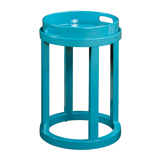 Blair Blue Lacquer Round Accent Table
