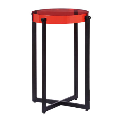 Emmett Red Acrylic Accent Table