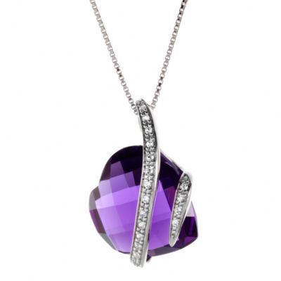 Lab-Created Amethyst & White Sapphire Crossover Heart Pendant Necklace
