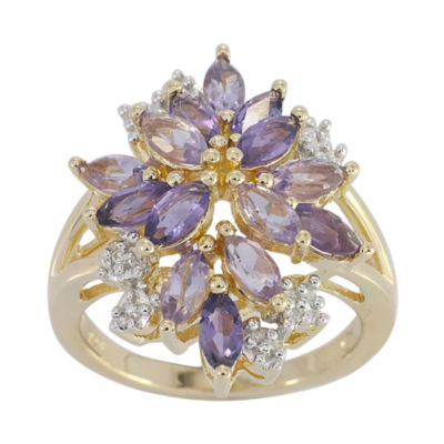 14K Gold over Silver Genuine Amethyst, Genuine Pink Quartz & Lab-Created White Sapphire Flower Ring