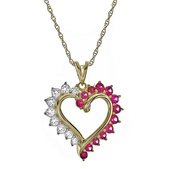 Lab-Created Ruby and White Sapphire Heart Pendant Necklace