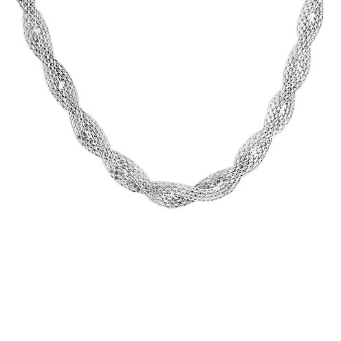 Made in Italy Sterling Silver Braided Bismark Chain Necklace