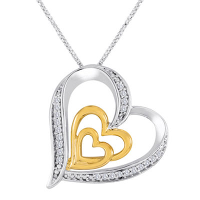 ForeverMine® 1/10 CT. T.W. Diamond Two-Tone Triple-Heart Pendant Necklace