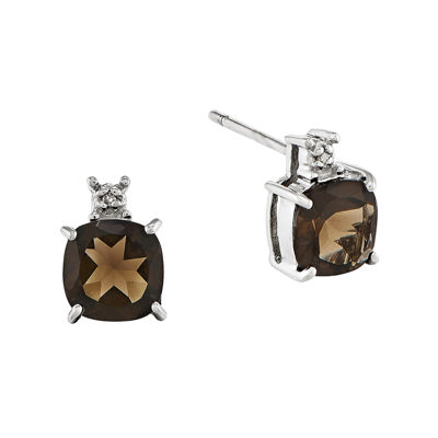 Genuine Brown Smoky Quartz and Diamond-Accent 14K White Gold Stud Earrings