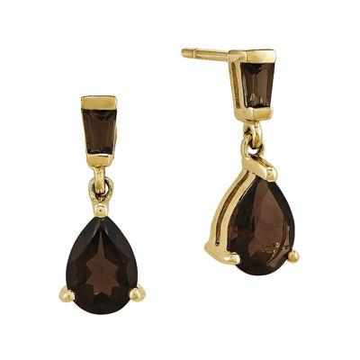 Genuine Smoky Quartz 14K Yellow Gold Dangle Earrings