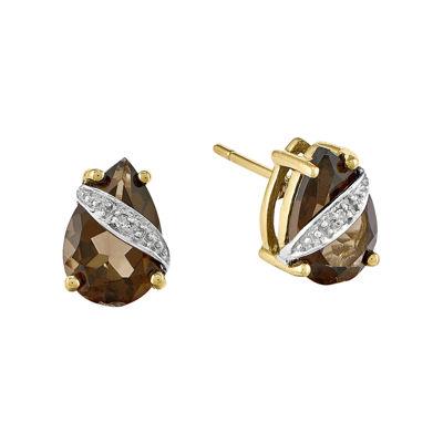 Genuine Smoky Quartz Diamond-Accent 14K Yellow Gold Stud Earrings