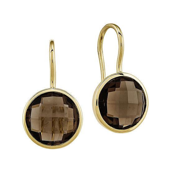 Genuine Smoky Quartz 14k Yellow Gold Drop Earrings