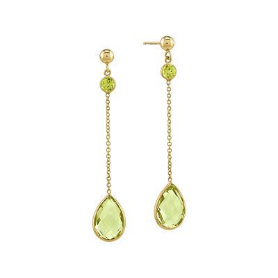 Genuine Green Peridot and Heat-Treated Green Quartz 14K Yellow Gold Drop Earrings