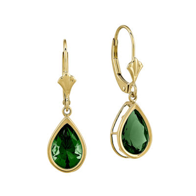 Lab-Created Helenite 14K Yellow Gold Pear Drop Earrings