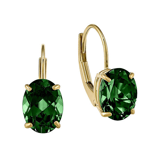 Lab-Created Helenite 14K Yellow Gold Oval Drop Earrings