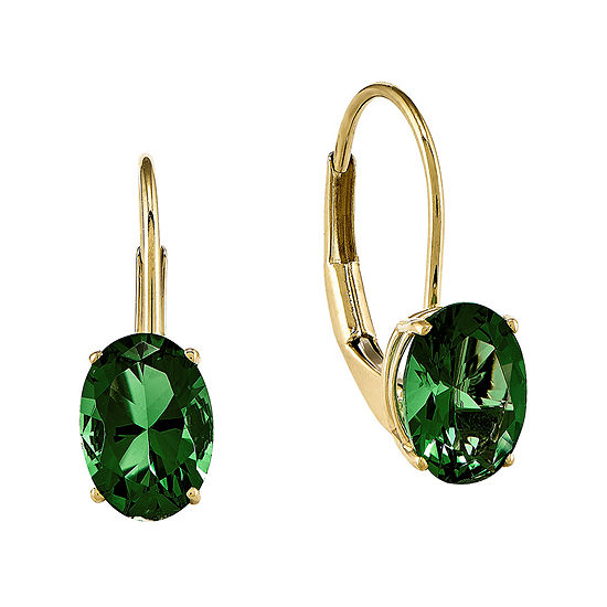 Lab Created Helenite 14k Yellow Gold Round Drop Earrings