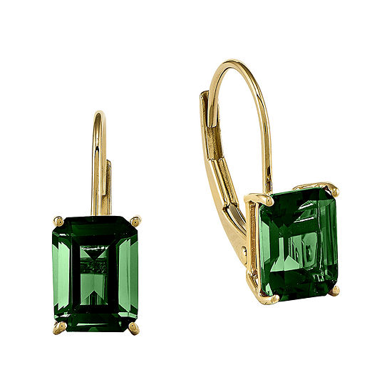 Lab-Created Helenite 14K Yellow Gold Emerald-Cut Drop Earrings