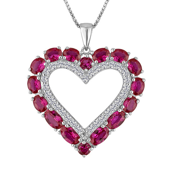 Lab created ruby white sapphire sterling silver heart pendant lab created ruby white sapphire sterling silver heart pendant necklace mozeypictures Gallery