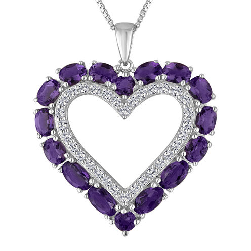 Lab-Created Amethyst & White Sapphire Sterling Silver Heart Pendant Necklace