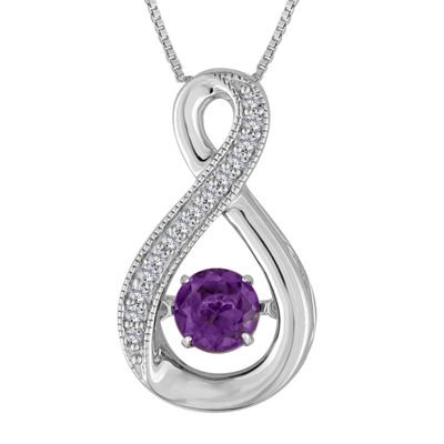 Love in Motion™ Lab-Created Amethyst White Sapphire Sterling Silver Necklace