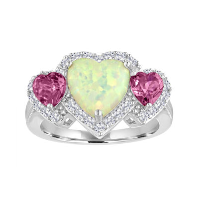 Lab-Created Opal with Pink and White Sapphire Sterling Silver Ring