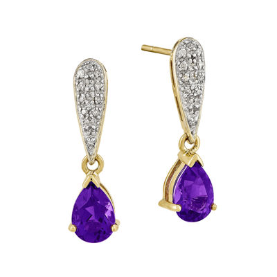 1/10 CT. T.W. Diamond Genuine Amethyst 14K Yellow Gold Drop Earrings