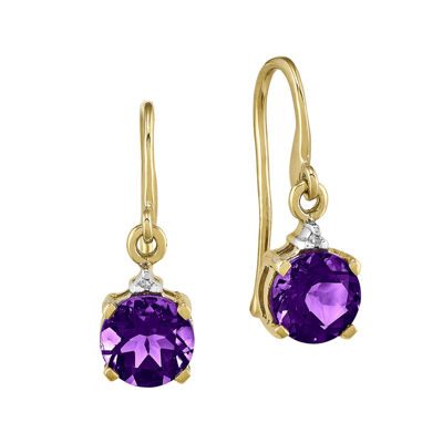 Genuine Amethyst and Diamond-Accent 14K Yellow Gold Drop Earrings