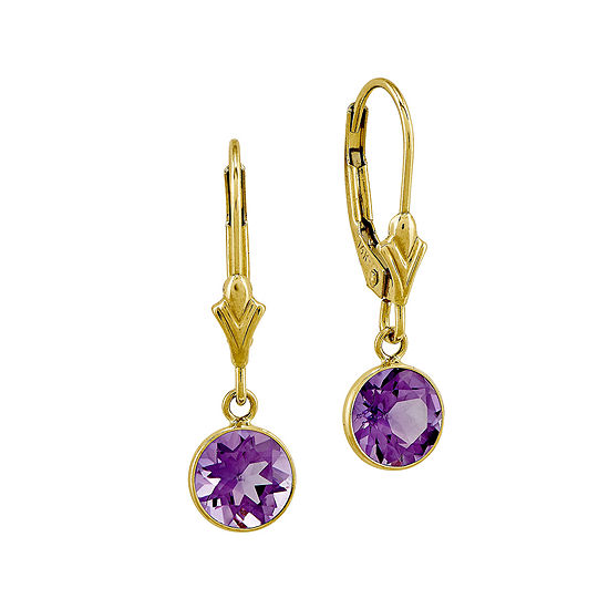 Genuine Amethyst 14K Yellow Gold Leverback Earrings