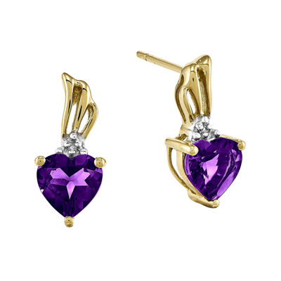 Heart-Shaped Genuine Amethyst and Diamond-Accent 14K Yellow Gold Earrings
