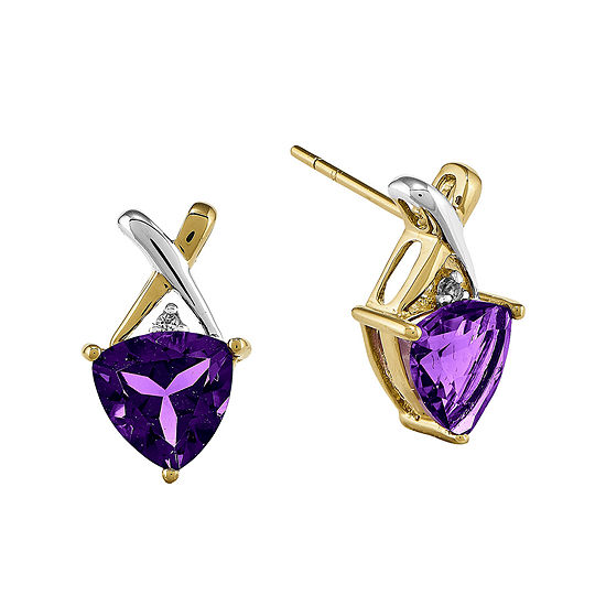 Genuine Amethyst and White Topaz 14K Yellow Gold Earrings
