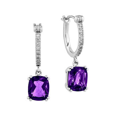 1/10 CT. T.W. Diamond and Genuine Amethyst 14K White Gold Dangle Hoop Earrings