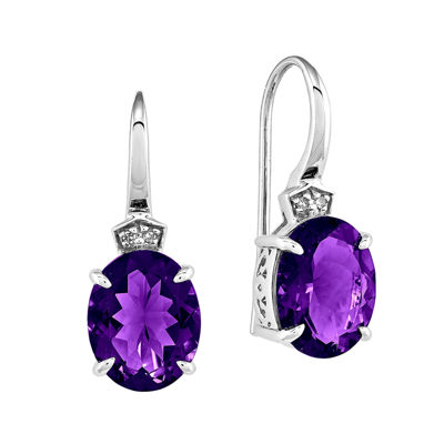 Genuine Amethyst and Diamond-Accent 14K White Gold Dangle Earrings