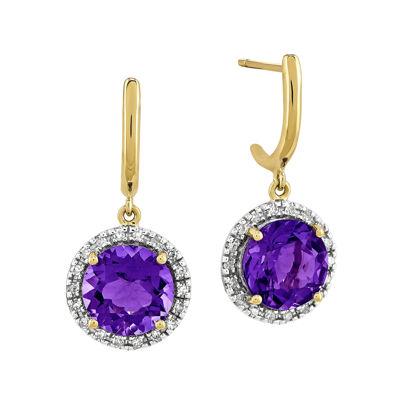 Genuine Amethyst 14K Yellow Gold 1/5 CT. T.W. Diamond  Earrings