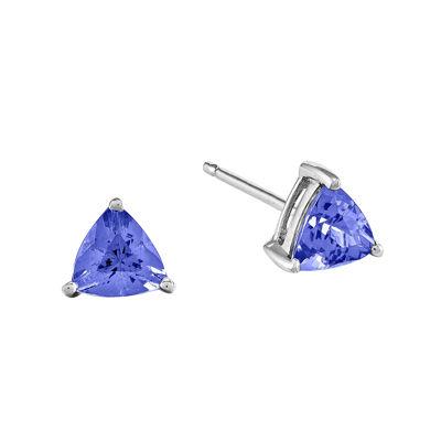 Trillion-Cut Genuine Tanzanite 14K White Gold Earrings