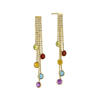 Multicolor Genuine Gemstone 14K Yellow Gold Drop Earrings