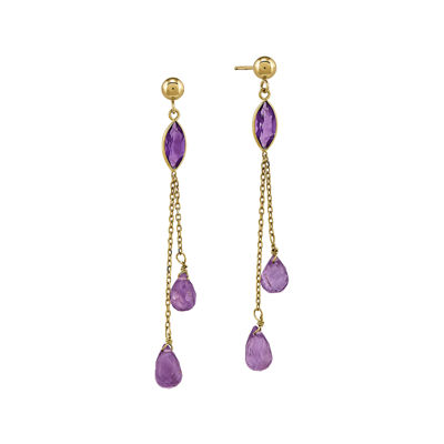 Genuine Amethyst 14K Yellow Gold Drop Earrings
