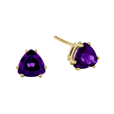 Trillion-Cut Genuine Amethyst 14K Yellow Gold Earrings