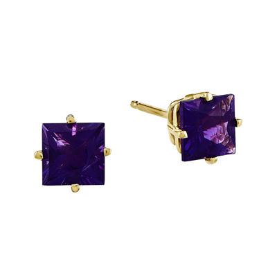 Princess-Cut Genuine Amethyst 14K Yellow Gold Earrings