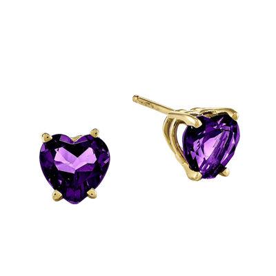 Heart-Shaped Genuine Amethyst 14K Yellow Gold Earrings