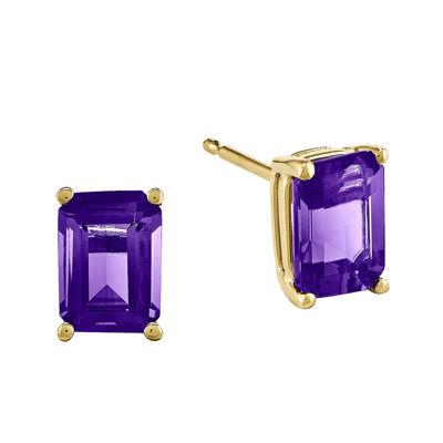 Emerald-Cut Genuine Amethyst 14K Yellow Gold Earrings