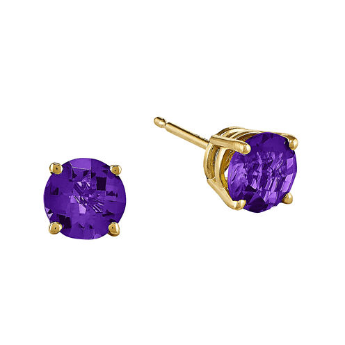 Genuine Amethyst 14K Yellow Gold Round Earrings