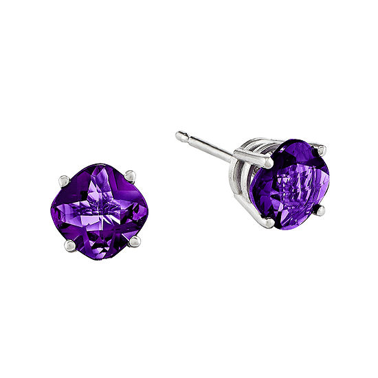 Genuine Amethyst 14K White Gold Cushion-Cut Stud Earrings