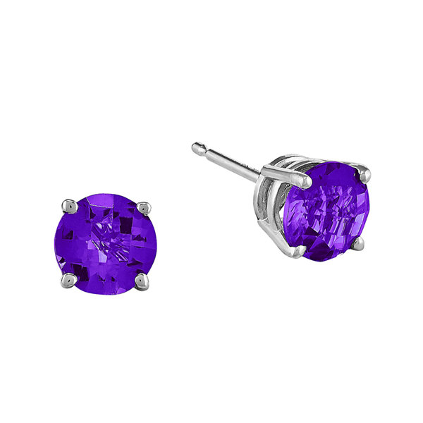 Genuine Amethyst 14K White Gold Round Stud Earrings