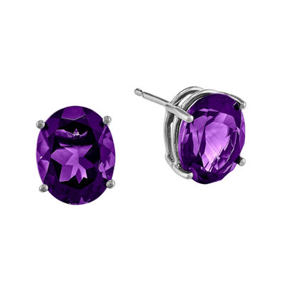 Genuine Amethyst 14K White Gold Stud Earrings