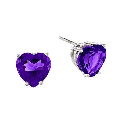 Genuine Amethyst 14K White Gold Heart-Shaped Earrings