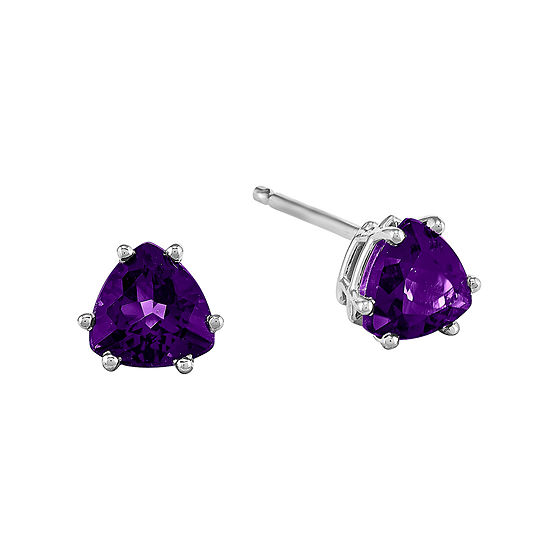 Genuine Amethyst 14K White Gold Trillion-Cut Earrings
