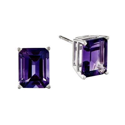 Genuine Amethyst 14K White Gold Emerald-Cut Earrings